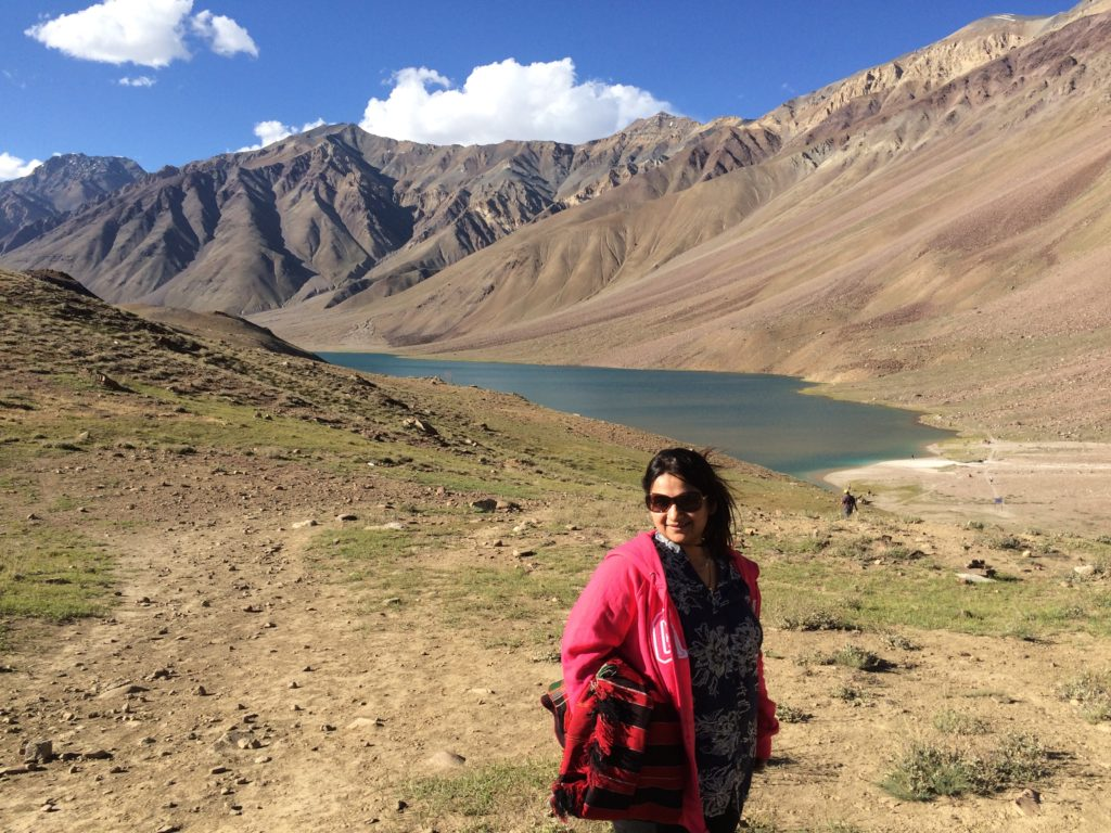 At Chandratal lake, Spiti valley, Himachal Pradesh