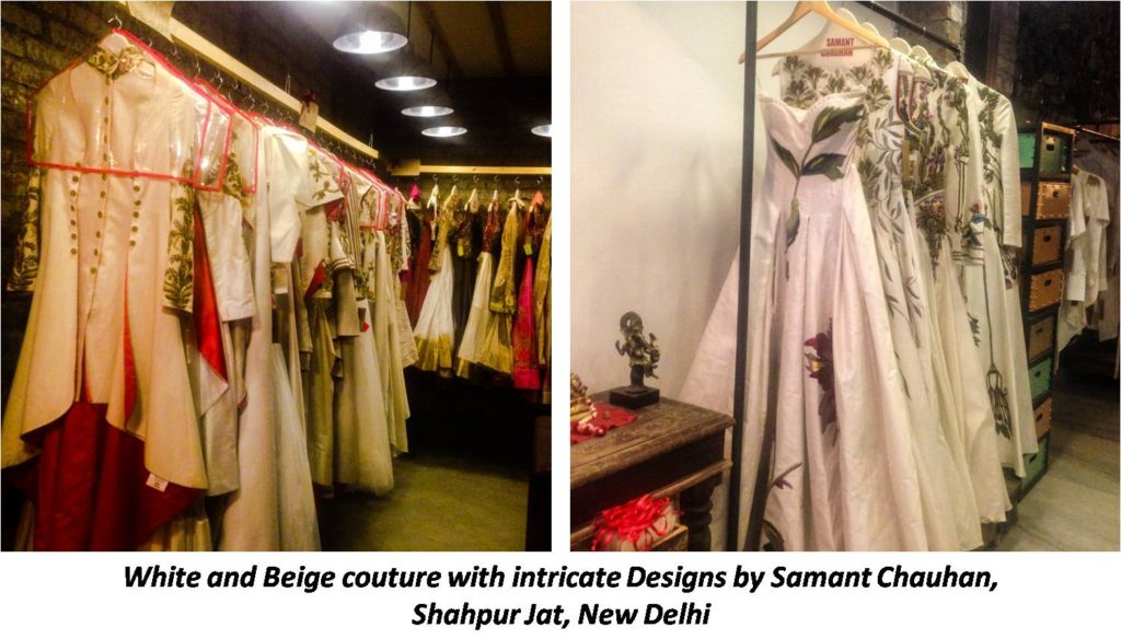 White & beige couture with intricate designs by Samant chauhan at Shahpur jat Delhi