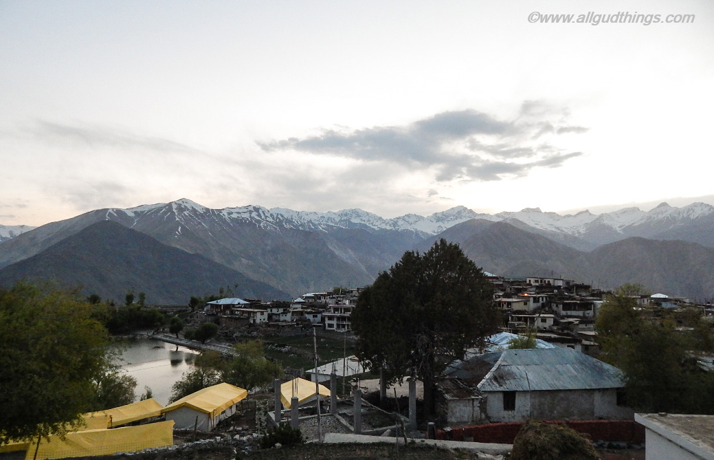 At evening, the first glimpse of Nako Village at Himachal Pradesh