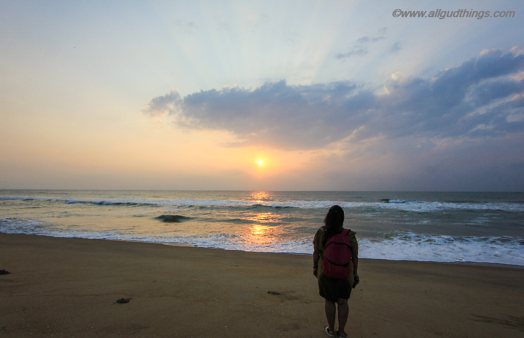Watching Sunrise on private beach of Chariot Beach Resort