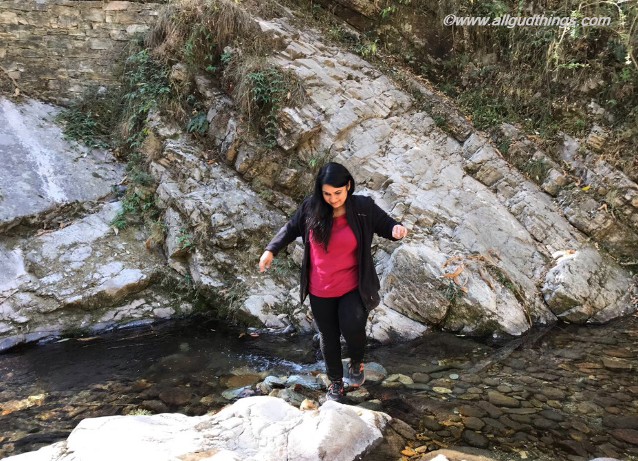 Crossing Stream on the way to Bhalu Gaad Waterfall in Mukteshwar Town