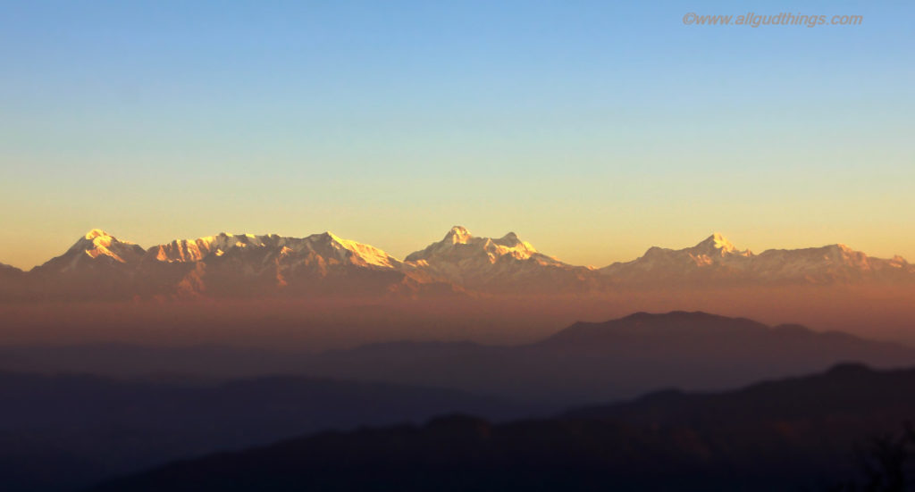 Himalayan peaks glowing at Sunrise in Mukteshwar Town