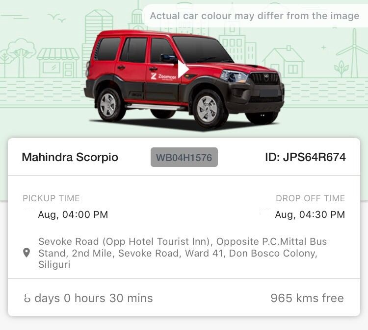 Zoomcar Booked from Siliguri to Sikkim
