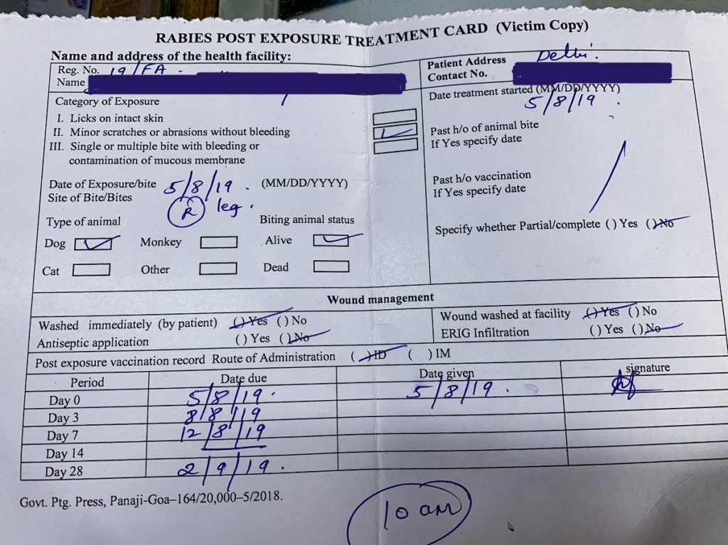 Rabies Post Exposure Treatment Card.